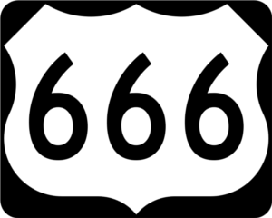 Highway 666 road sign.